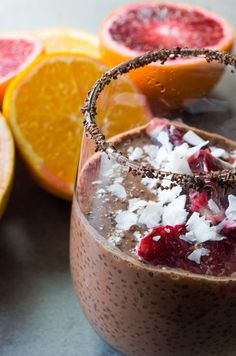 Winter Citrus Chocolate Chia Pudding - All the bright winter citrus combined with dark chocolate,cacao, and chia seeds makes for the perfect filling breakfast you need!