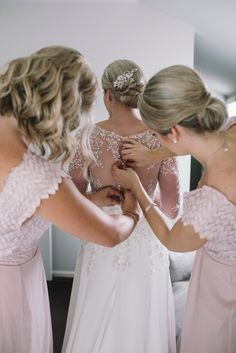 Bridesmaids wearing Elvery Maxi by Amber Whitecliffe #blushbridesmaids