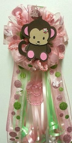 Monkey Girl Baby Shower Pin Corsage By Diapercake4less On