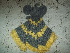 Crocheted Yellow Grey ELEPHANT LOVEY Security by BellaEarthAndSea
