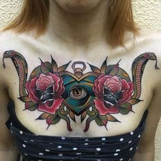 Gorgeous Snake Tattoo on the Chest for Women