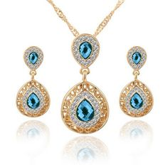 Jewelry Sets Double Water Drop Crystal Earrings Gold Plated Rhinestone Pendant Necklaces For Women Engagement Bridal Wedding Set Pendant Jewelry, Pendant Necklace, Gold Jewelry, Jewelry Necklaces, Nice Jewelry, Women Jewelry, Bijoux Fil Aluminium, Wedding Jewelry Sets, Bridal Jewellery