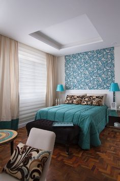 Colors for Couples Rooms: See 125 Photos with Examples - Decoration, Architecture, Construction, Furniture and decoration, Home Deco Master Bedroom, Bedroom Decor, Diy Headboards, Decoration Design, Entertainment Room, Home Organization, Feng Shui, Home Remodeling, Sweet Home