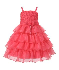 cc9c00da59e04 Take a look at this Coral Rosette Tiered Dress - Toddler & Girls on  zulily