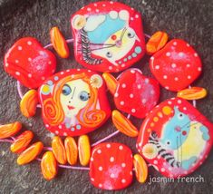 jasmin french  '  when the snow falls '  lampwork beads set ooak