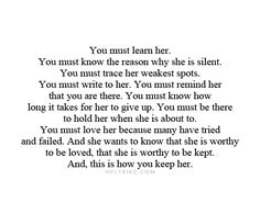 And that is how you keep her..