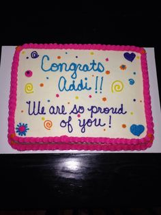 Multi colored sheet cake Congrats addi Preschool graduation