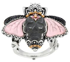 Barbara Bixby Sterling & 18K Mother-of-Pearl & Gemstone Skull Bee Ring