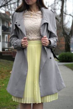 Pale yellow pleated skirt and lace