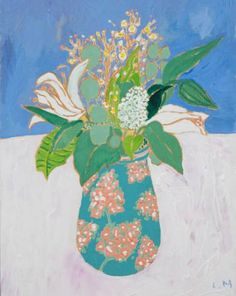"""Saatchi Art Artist Lara Meintjes; Painting, """"Flowers From Jason - Still Life Painting of Easter Lilies in a Vase"""" #art"""