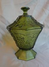 Vintage Green Carnival Glass Covered Candy Dish~Grapes and Leaf Design.
