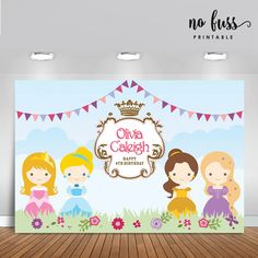 Princess Birthday Backdrop  Girls Party Banner  by NoFussPrintable