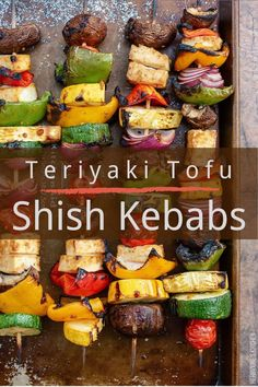 All the summer feels! Nothing tastes quite as good as shish kebabs right off the grill! Featuring teriyaki tofu, mushrooms, peppers and squash, this shish kebab recipe is an easy way to get plenty of healthy vegetables on the table. #shishkebabs #shishkebabsonthegrill #shishkabobs #easyshishkebabs #veganshishkebabs Tofu Recipes, Vegan Recipes Easy, Grilling Recipes, Vegetarian Recipes, Vegan Grilling, Dinner Recipes, Shish Kabobs, Kebabs, Vegan Burrito Bowls