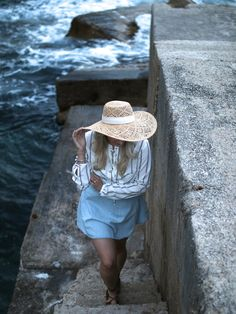 H&M hat and Forever21 stripe top - ANDREA CLARE