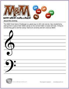 M&M Note Name Challenge | Free Printable Note Name Worksheet - MakingMusicFun.net
