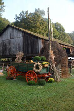 Barn and wagon.