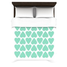 Amazon.com - Kess InHouse Project M Mint Up and Down Hearts 88 by 104-Inch Duvet Cover, King -  #hearts #heart #love #mint #green #white   #projectm #kess #kessinhouse #artforthehome