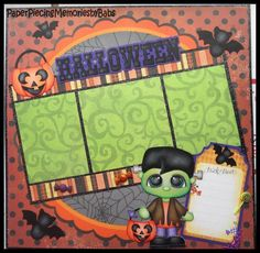 Premade Paper Pieced 12x12 Halloween Scrapbook Page-by Babs