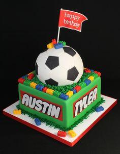 Soccer Lego Cake_make it a baseball or football for Gav. Soccer Birthday Parties, Lego Birthday Party, Birthday Cakes, Soccer Party, 7th Birthday, Bolo Lego, Lego Cake, Sport Cakes, Soccer Cakes