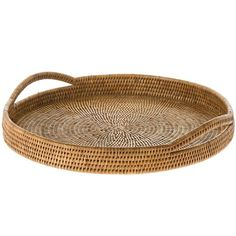 This round rattan serving tray was hand woven by master weavers to provide years of durability and sustainability. The tray's coastal white wash color  complements whatever it carries on board and offers easy, light transport to potlucks, picnics and pool parties. It's simple, lightweight elegance at its best.