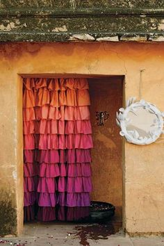 Anthropologie shower curtain in some of my favorite colors. Wouldn't work in my bathroom now, though!