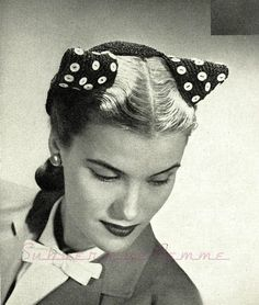 Buttoned for Fashion - a very original, very individual hat. c. 1945