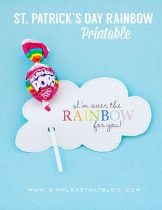 St. Patrick's Day Rainbow treat labels. Free printable St. Patrick's day idea.