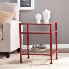 Southern Enterprises Glass End Table, Red Obertische Aus Glas, Moderner  Beistelltisch, Beistelltische,