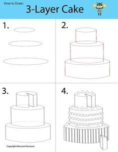 Dessin d'un gâteau 3 D sera un morceau de gâteau, Apprenez à dessiner des formes de cylindre et à devenir un concepteur de gâteau. Décorer votre gâteau en ajoutant fouettée c... 1769