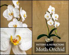 Crochet Flower Pattern  Crochet Orchid Pattern  Phal Orchid by HappyPattyCrochet | Etsy