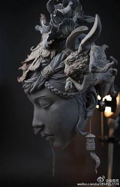 Surreal Bust Sculpture by Yuanxing Liang art sculpture Stunning Sculptures Reimagine Women's Hair as Surreal Landscapes Sculptures Céramiques, Art Sculpture, Roman Sculpture, Ceramic Sculptures, Modern Sculpture, Arte Obscura, Michelangelo, Oeuvre D'art, Ceramic Art