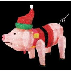 "trim a home® 28"" lighted angel pig outdoor christmas decoration at"