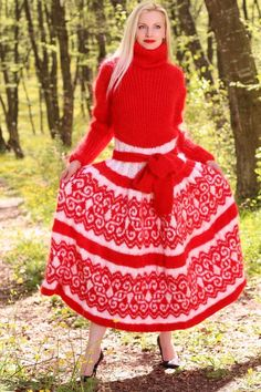 GORGEOUS Hand Knitted Mohair Sweater Fuzzy RED WHITE Handmade Dress SUPERTANYA