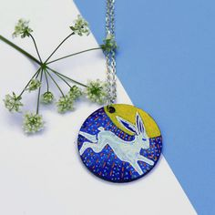 Rabbit Pendant Necklace, Hand Painted Jewelry, Woodland Jewelry, Animal Jewellery, Animal Lovers Gift, Leaping Hare, Hare and Moon