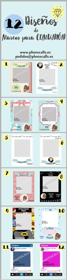 12 Diseños marco polaroid COMUNIÓN personalizables para tu fiestas .Photocall para Comunión. Elige tu diseño para #photocall, #photobooth, #Comunión, #Cumpleaños, #MarcoComunion, etc..