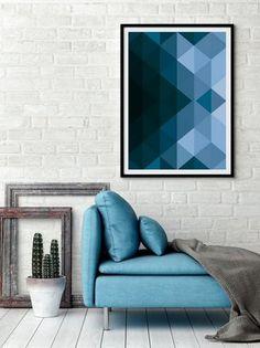 2d6e435c62 Quadro Poster Decorativo Geométrico Azul - Design