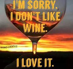 I ♥ Wine! __[Wino-Licious/FB] #winelove (Wine glass Illustration Quotes) #cYellow #cOrange