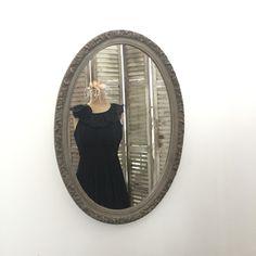 Bathroom Mirror, Ornate Oval Wall Mirror, Shabby Cottage Chic Rustic Distressed Vanity Mirror