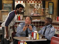 """Nyambi Nyambi, Billy Gardell, and Reno Wilson in Mike & Molly from """"Vince Takes ..."""