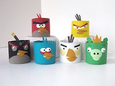 Angry Birds from Cardboard Tubes - Crafts by Amanda