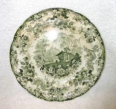 Antique MINTON Green & White Transferware Plate, GENEVESE Pattern circa 1830's #MintonChina