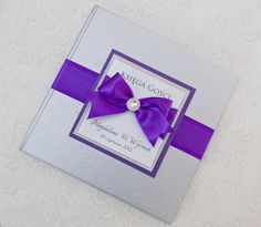 Wedding Guest Book  - silver and purple