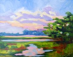 Kiawah Island South Carolina Marsh Sunset Landscape Modern Impressionist Original Oil Painting by Rebecca Croft by rebeccacroftstudios on Etsy