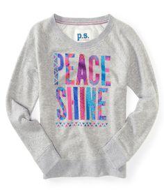 Kids' Long Sleeve Peace Shine Crew Sweatshirt - PS From Aeropostale