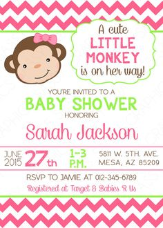 girl baby shower invitation in monkey theme with pink chevron and green and brown accents