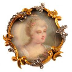 Belle Epoque Gold Platinum Portrait Pin-Pendant ca. Gold Brooches, Vintage Brooches, Edwardian Jewelry, Vintage Jewelry, Antique Jewelry, Bijoux Art Nouveau, 14k Gold Jewelry, Platinum Jewelry, Miniature Portraits