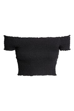 Smocked off-the-shoulder top Smocked off-the-shoulder top - Black - Ladies Girls Fashion Clothes, Teen Fashion Outfits, Outfits For Teens, Trendy Outfits, Cute Crop Tops, Crop Top Shirts, Crop Shirt, Cute Comfy Outfits, Cool Outfits