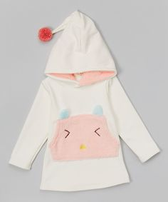 Another great find on #zulily! White & Pink Cat Pocket Hoodie - Infant & Toddler by Leighton Alexander #zulilyfinds