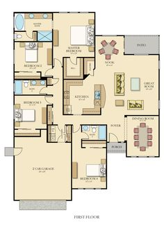 Muirwood X floor plan with Furniture but only 2 bay garage Bungalow Floor Plans, Garage Floor Plans, Home Design Floor Plans, House Floor Plans, Single Storey House Plans, One Storey House, Best House Plans, Dream House Plans, House Blueprints