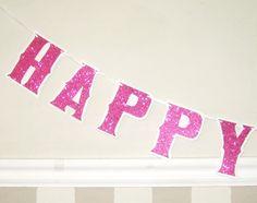 happy birthday banner hot pink glitter on white 2500 via etsy